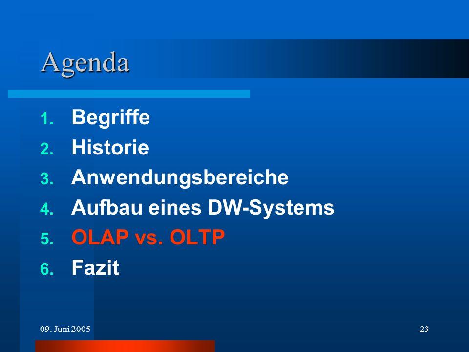 09. Juni 200523 Agenda 1. Begriffe 2. Historie 3. Anwendungsbereiche 4. Aufbau eines DW-Systems 5. OLAP vs. OLTP 6. Fazit