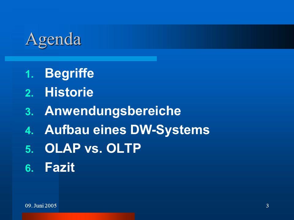 3 Agenda 1. Begriffe 2. Historie 3. Anwendungsbereiche 4. Aufbau eines DW-Systems 5. OLAP vs. OLTP 6. Fazit