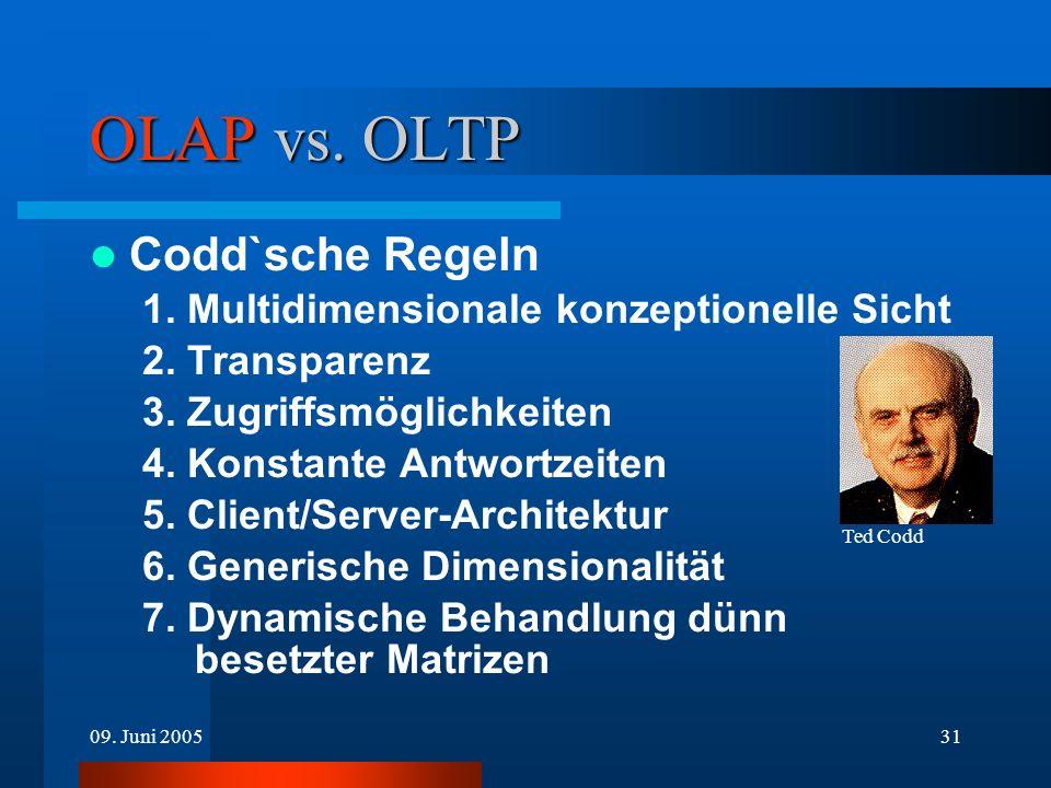 09. Juni 200531 OLAP vs. OLTP Codd`sche Regeln 1. Multidimensionale konzeptionelle Sicht 2. Transparenz 3. Zugriffsmöglichkeiten 4. Konstante Antwortz