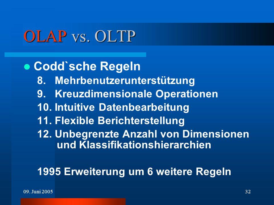 09. Juni 200532 OLAP vs. OLTP Codd`sche Regeln 8. Mehrbenutzerunterstützung 9. Kreuzdimensionale Operationen 10. Intuitive Datenbearbeitung 11. Flexib