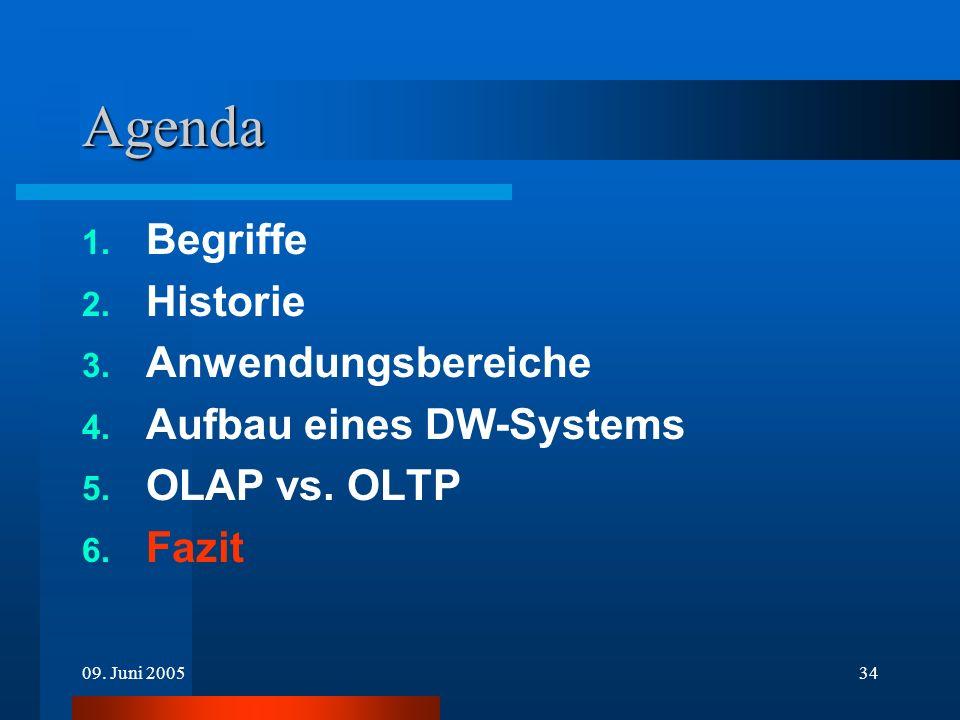 09. Juni 200534 Agenda 1. Begriffe 2. Historie 3. Anwendungsbereiche 4. Aufbau eines DW-Systems 5. OLAP vs. OLTP 6. Fazit