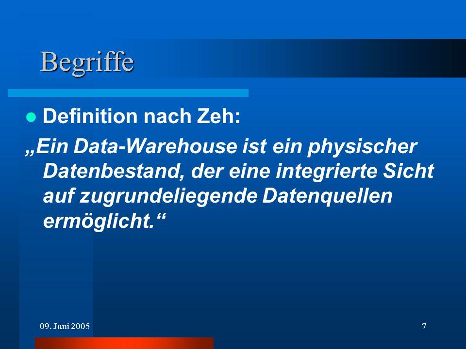 09. Juni 20057 Begriffe Definition nach Zeh: Ein Data-Warehouse ist ein physischer Datenbestand, der eine integrierte Sicht auf zugrundeliegende Daten