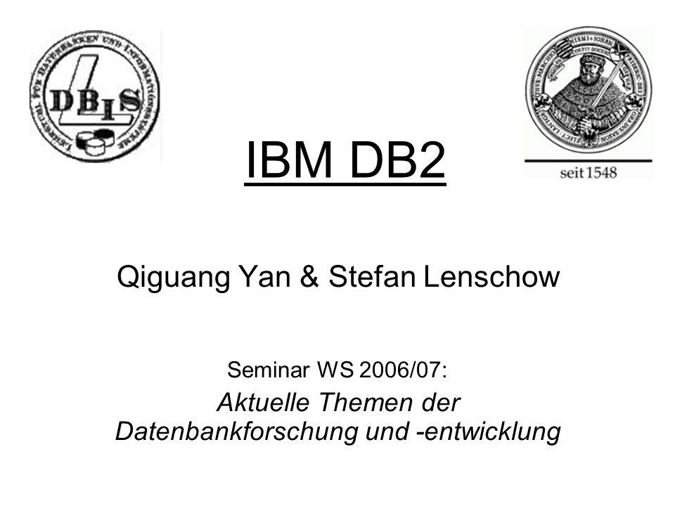 IBM DB2 Qiguang Yan & Stefan Lenschow Seminar WS 2006/07: Aktuelle Themen der Datenbankforschung und -entwicklung