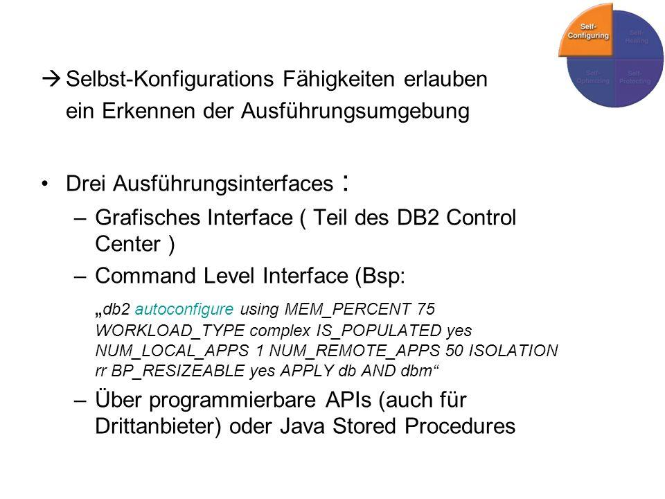 Selbst-Konfigurations Fähigkeiten erlauben ein Erkennen der Ausführungsumgebung Drei Ausführungsinterfaces : –Grafisches Interface ( Teil des DB2 Control Center ) –Command Level Interface (Bsp: db2 autoconfigure using MEM_PERCENT 75 WORKLOAD_TYPE complex IS_POPULATED yes NUM_LOCAL_APPS 1 NUM_REMOTE_APPS 50 ISOLATION rr BP_RESIZEABLE yes APPLY db AND dbm –Über programmierbare APIs (auch für Drittanbieter) oder Java Stored Procedures