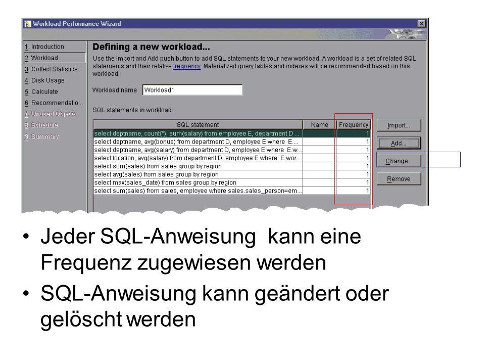 Jeder SQL-Anweisung kann eine Frequenz zugewiesen werden SQL-Anweisung kann geändert oder gelöscht werden
