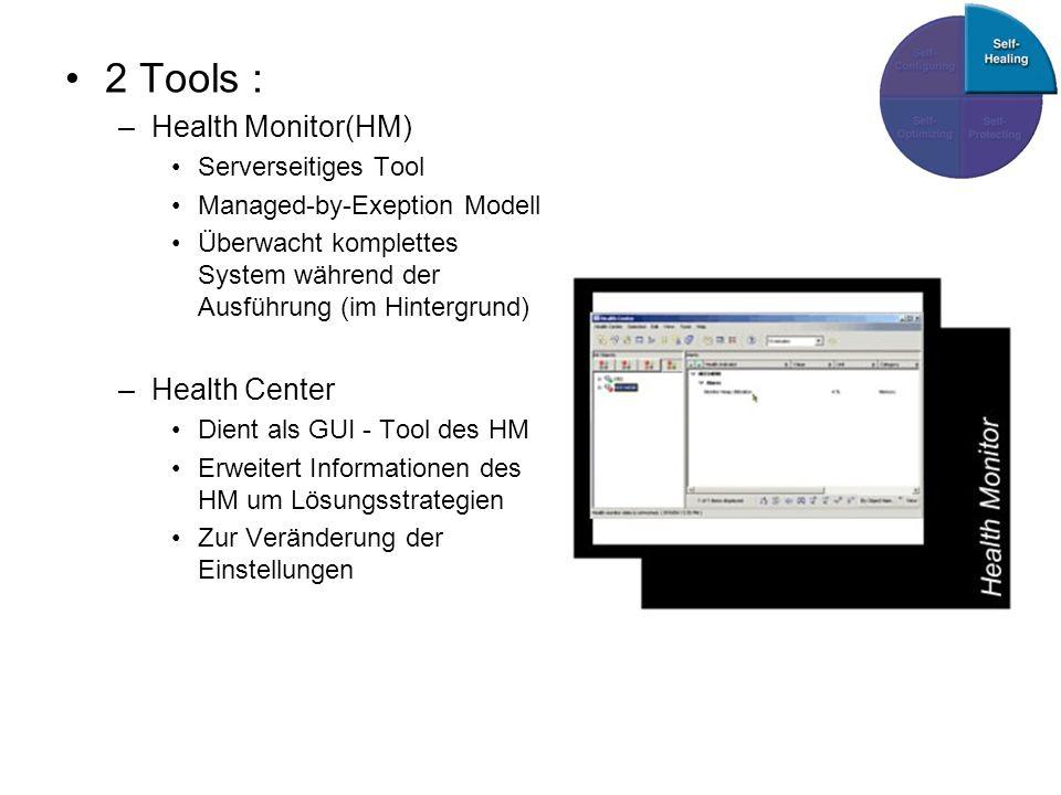 2 Tools : –Health Monitor(HM) Serverseitiges Tool Managed-by-Exeption Modell Überwacht komplettes System während der Ausführung (im Hintergrund) –Health Center Dient als GUI - Tool des HM Erweitert Informationen des HM um Lösungsstrategien Zur Veränderung der Einstellungen