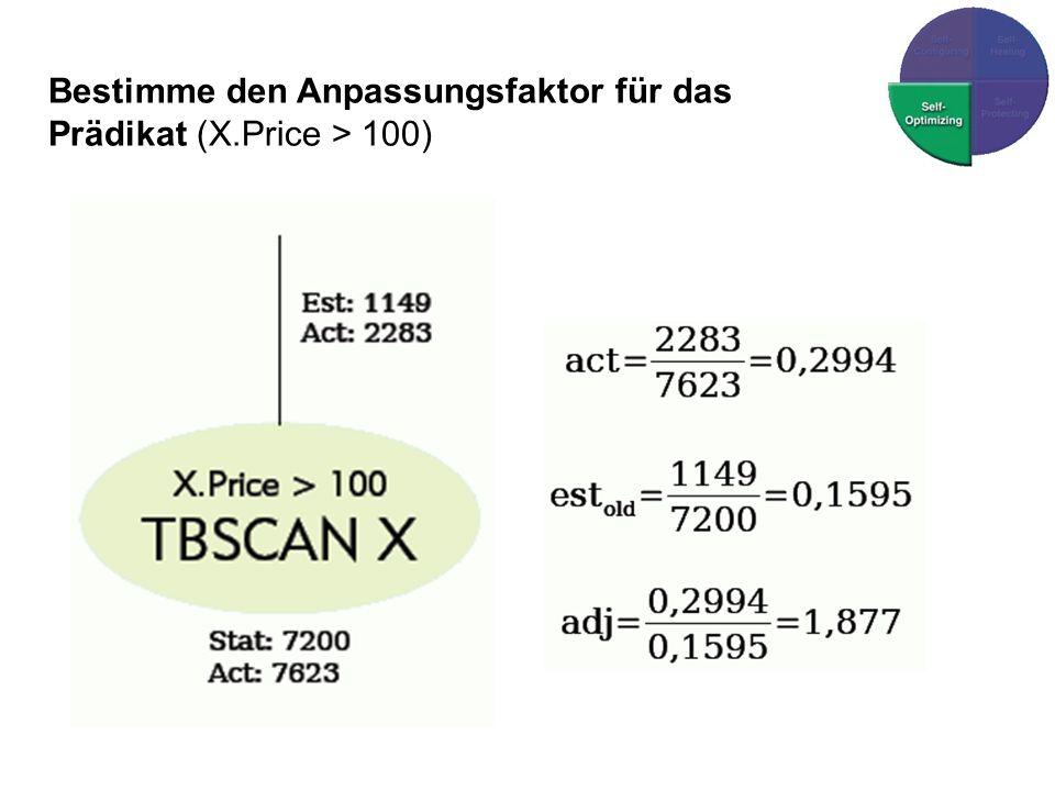 Bestimme den Anpassungsfaktor für das Prädikat (X.Price > 100)