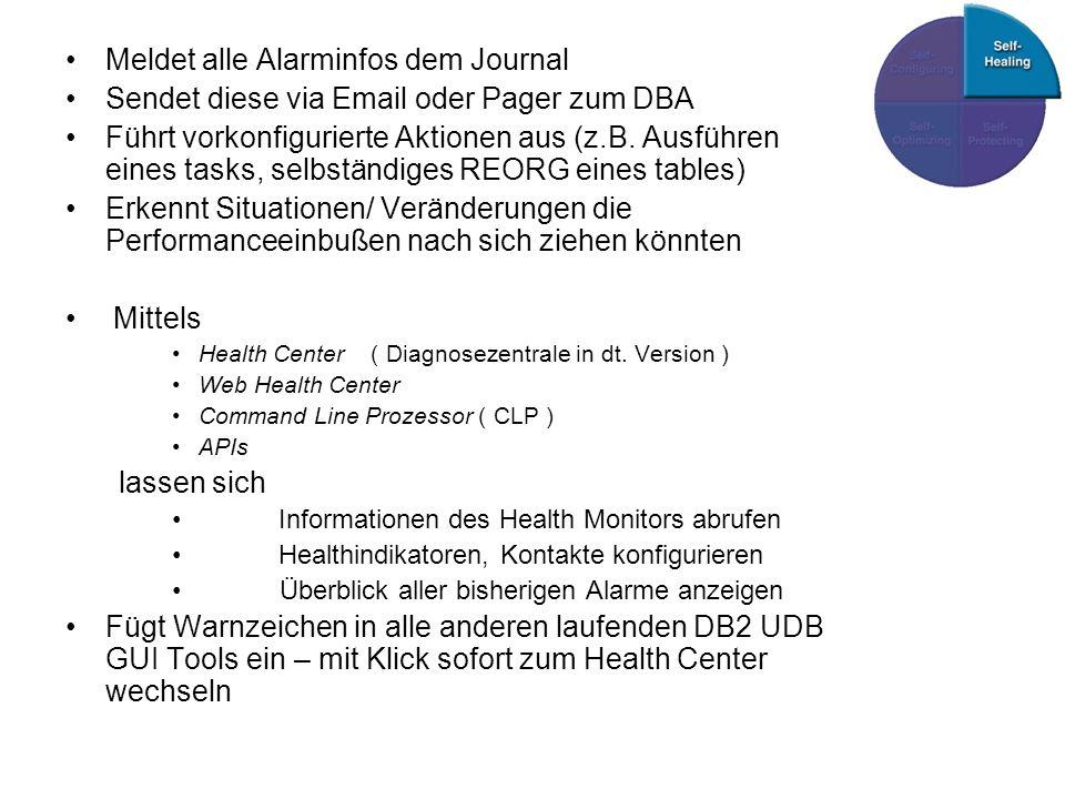 Meldet alle Alarminfos dem Journal Sendet diese via Email oder Pager zum DBA Führt vorkonfigurierte Aktionen aus (z.B.