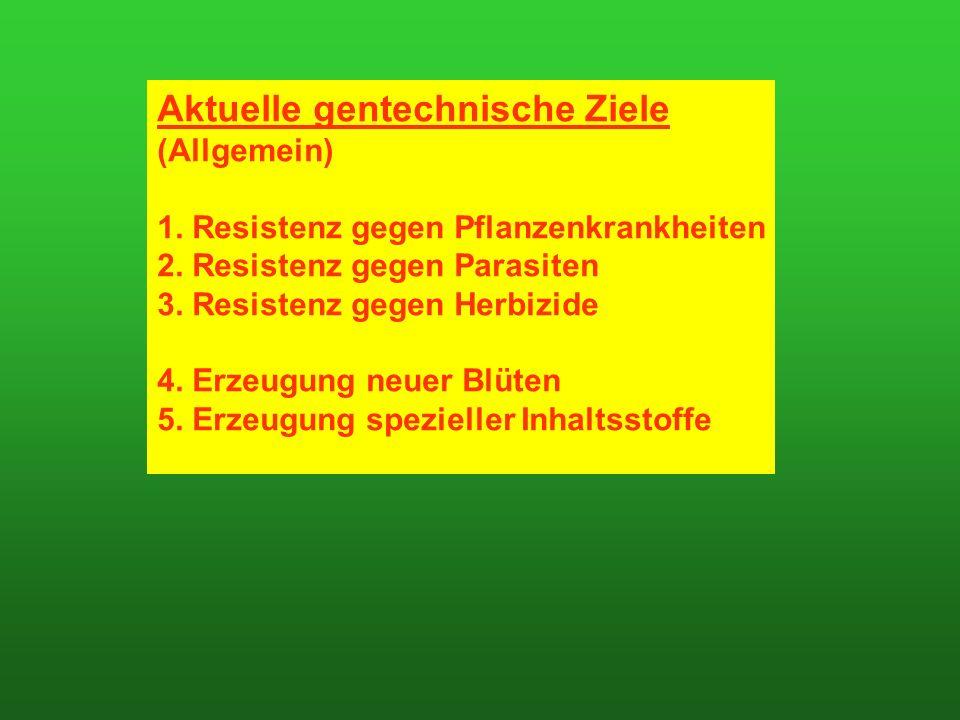 Aktuelle gentechnische Ziele (Allgemein) 1. Resistenz gegen Pflanzenkrankheiten 2.