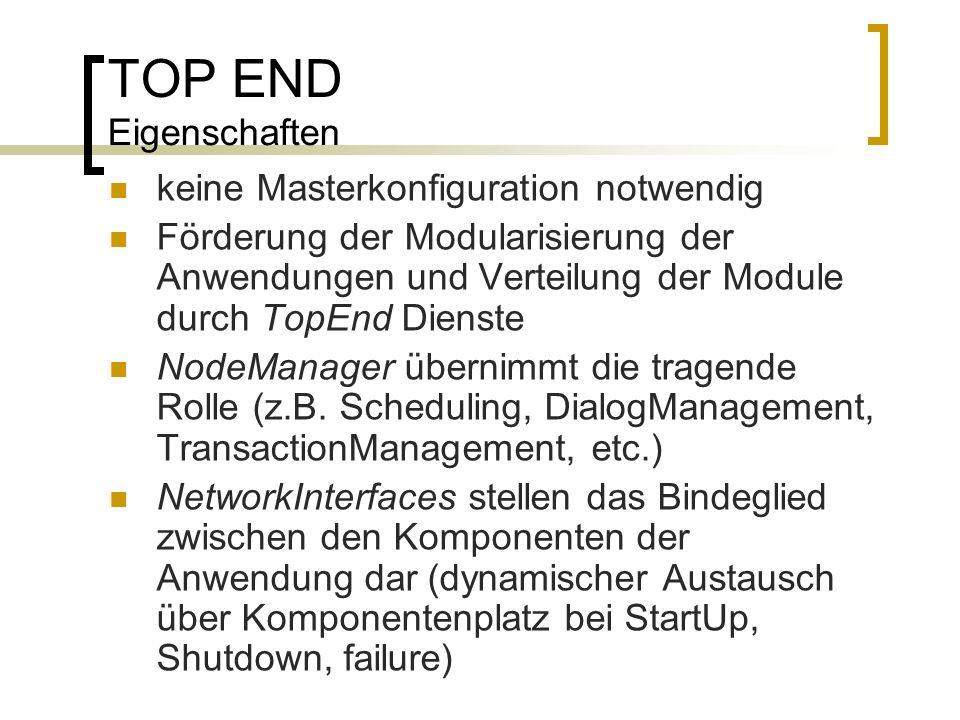 TOP END Eigenschaften keine Masterkonfiguration notwendig Förderung der Modularisierung der Anwendungen und Verteilung der Module durch TopEnd Dienste