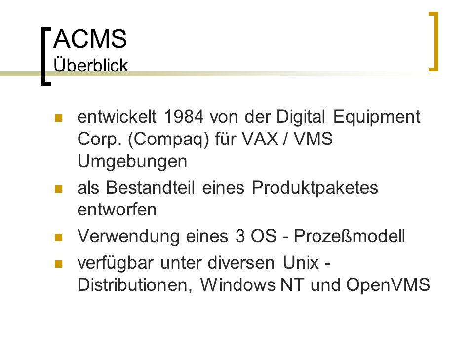 ACMS Überblick entwickelt 1984 von der Digital Equipment Corp. (Compaq) für VAX / VMS Umgebungen als Bestandteil eines Produktpaketes entworfen Verwen