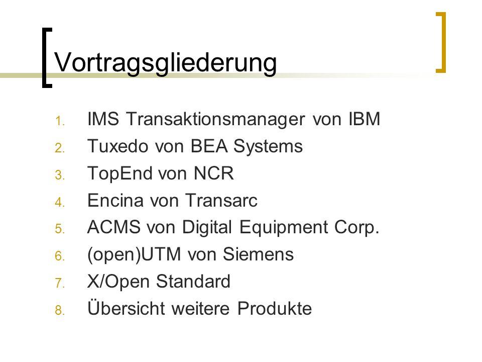 Vortragsgliederung 1. IMS Transaktionsmanager von IBM 2. Tuxedo von BEA Systems 3. TopEnd von NCR 4. Encina von Transarc 5. ACMS von Digital Equipment