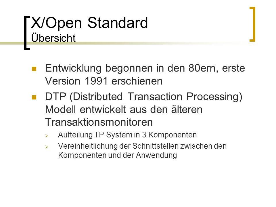 X/Open Standard Übersicht Entwicklung begonnen in den 80ern, erste Version 1991 erschienen DTP (Distributed Transaction Processing) Modell entwickelt