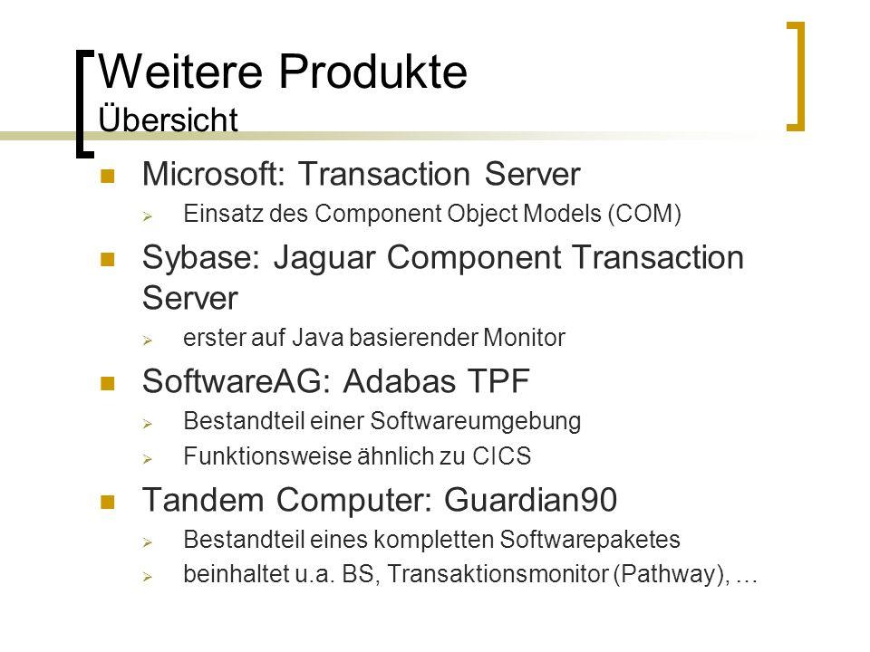 Weitere Produkte Übersicht Microsoft: Transaction Server Einsatz des Component Object Models (COM) Sybase: Jaguar Component Transaction Server erster