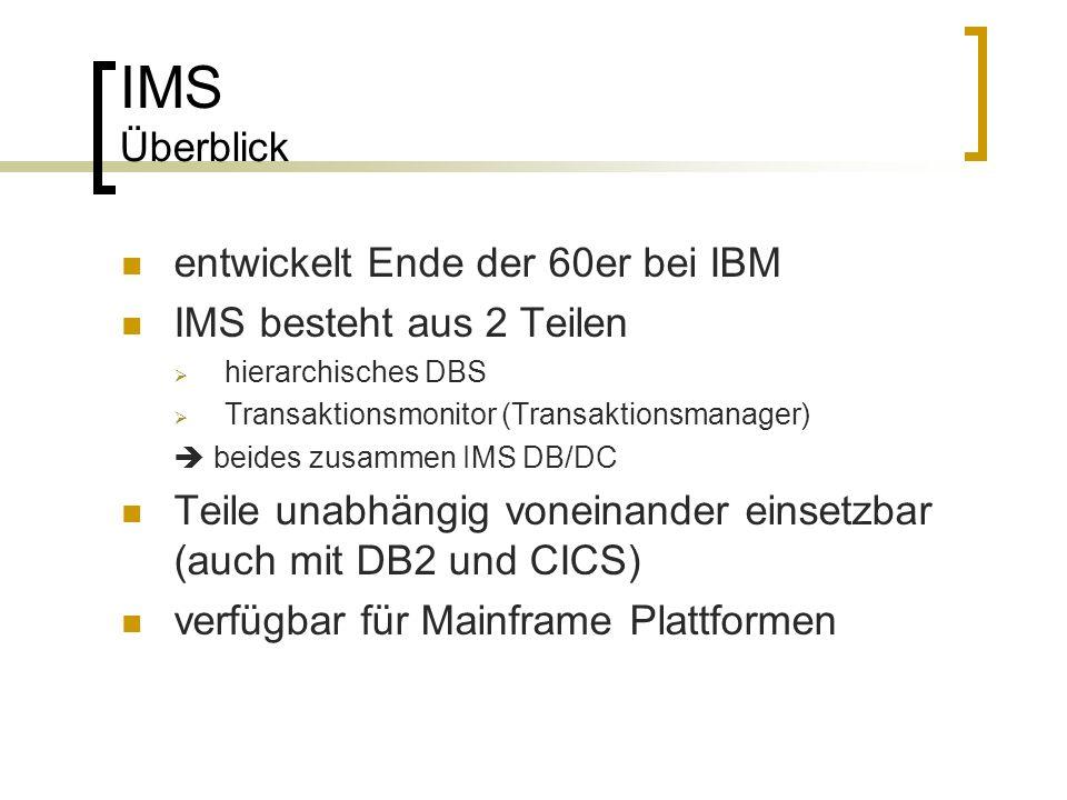 IMS Überblick entwickelt Ende der 60er bei IBM IMS besteht aus 2 Teilen hierarchisches DBS Transaktionsmonitor (Transaktionsmanager) beides zusammen I