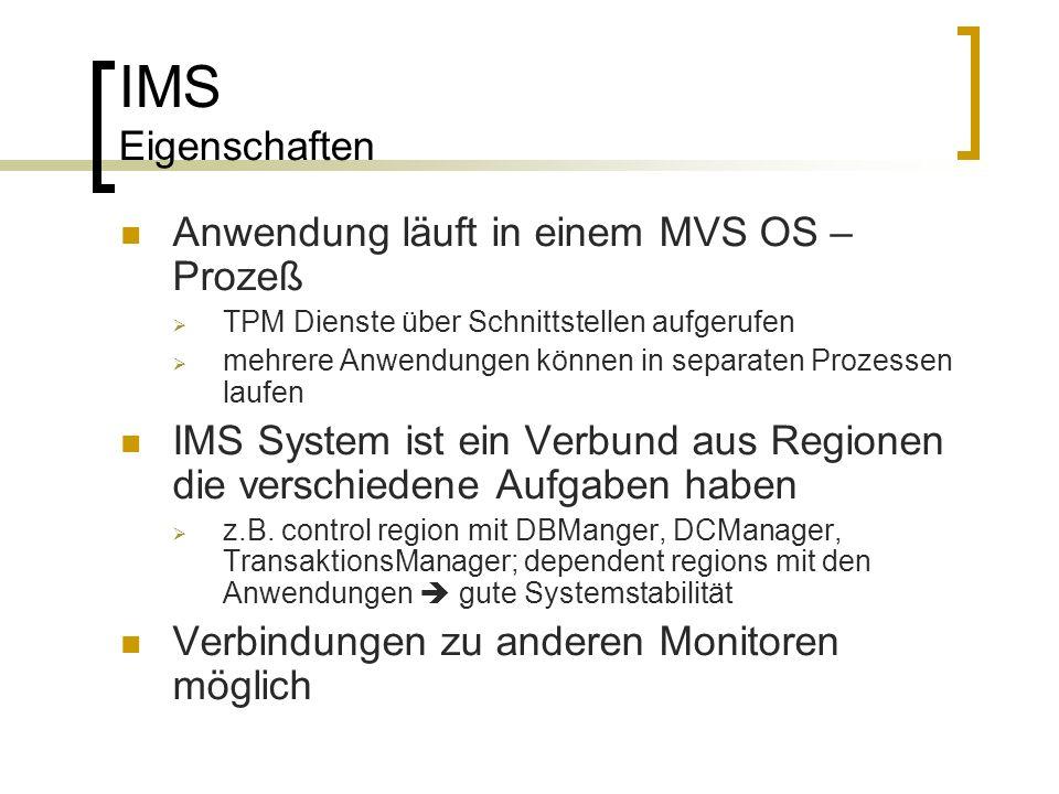 IMS Eigenschaften Anwendung läuft in einem MVS OS – Prozeß TPM Dienste über Schnittstellen aufgerufen mehrere Anwendungen können in separaten Prozesse