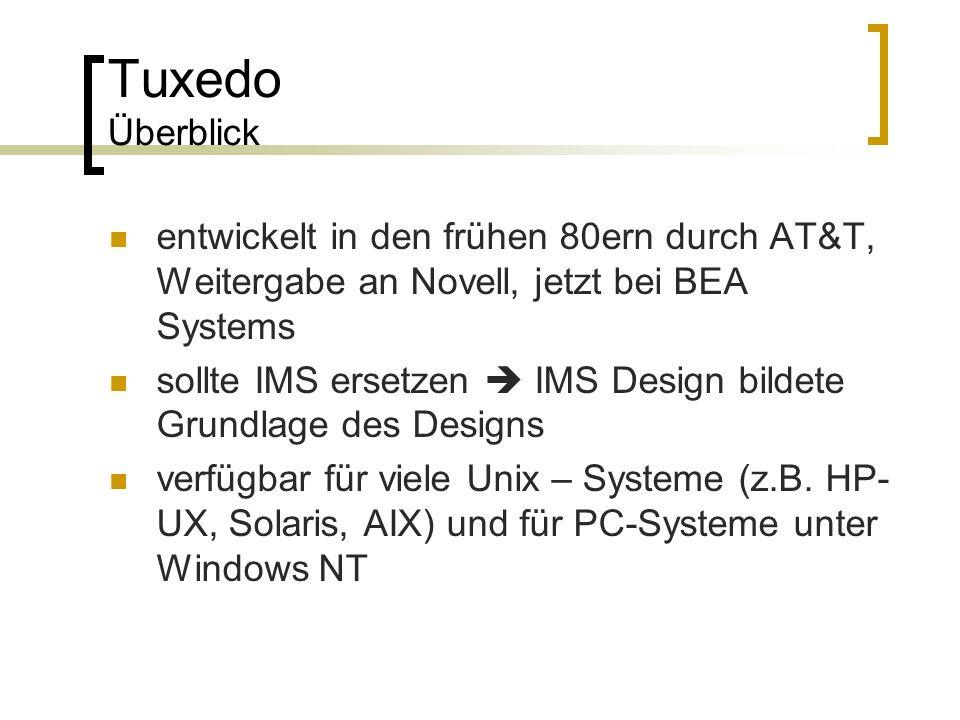 Tuxedo Überblick entwickelt in den frühen 80ern durch AT&T, Weitergabe an Novell, jetzt bei BEA Systems sollte IMS ersetzen IMS Design bildete Grundla