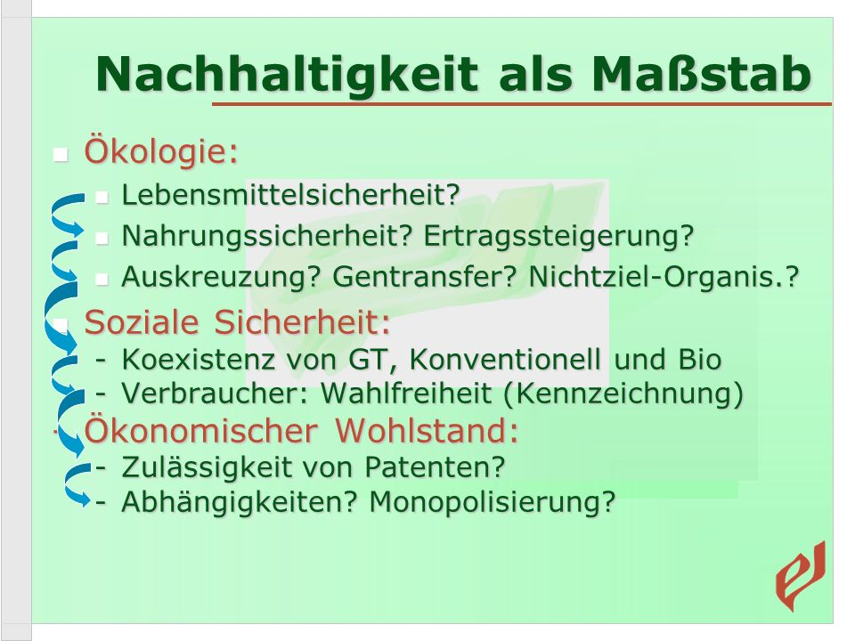 Ökologie: Ökologie: Lebensmittelsicherheit.Lebensmittelsicherheit.