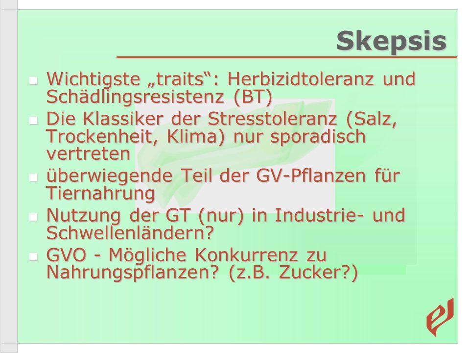 Skepsis Wichtigste traits: Herbizidtoleranz und Schädlingsresistenz (BT) Wichtigste traits: Herbizidtoleranz und Schädlingsresistenz (BT) Die Klassike