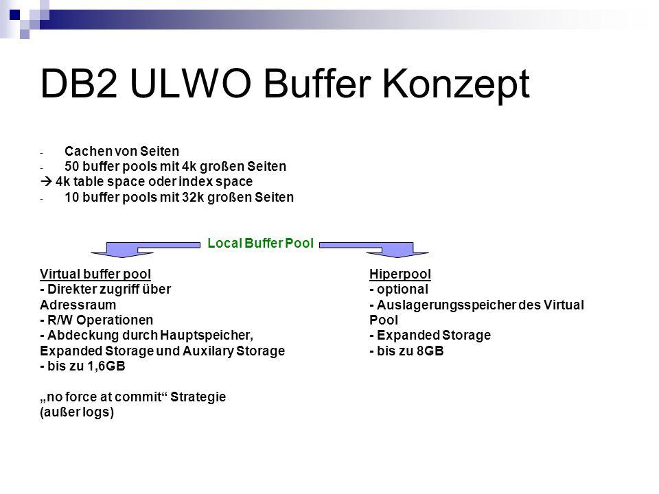 DB2 ULWO Buffer Konzept - Cachen von Seiten - 50 buffer pools mit 4k großen Seiten 4k table space oder index space - 10 buffer pools mit 32k großen Se