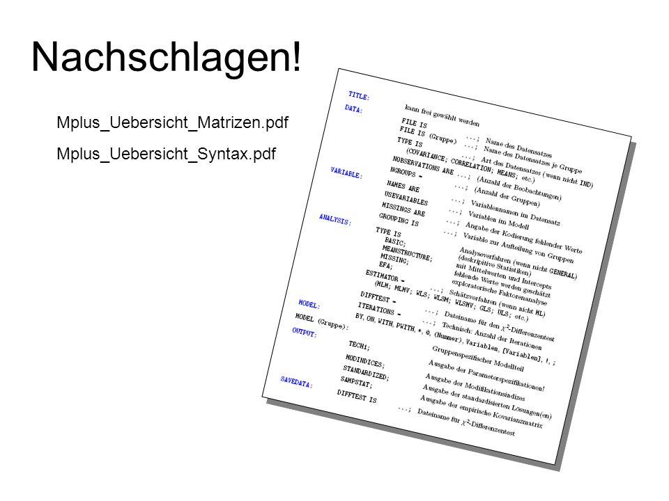 Nachschlagen! Mplus_Uebersicht_Matrizen.pdf Mplus_Uebersicht_Syntax.pdf