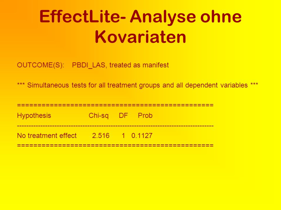 EffectLite- Analyse ohne Kovariaten OUTCOME(S): PBDI_LAS, treated as manifest *** Simultaneous tests for all treatment groups and all dependent variables *** ================================================ Hypothesis Chi-sq DF Prob No treatment effect ================================================