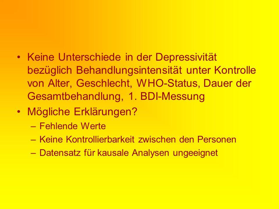 Keine Unterschiede in der Depressivität bezüglich Behandlungsintensität unter Kontrolle von Alter, Geschlecht, WHO-Status, Dauer der Gesamtbehandlung, 1.