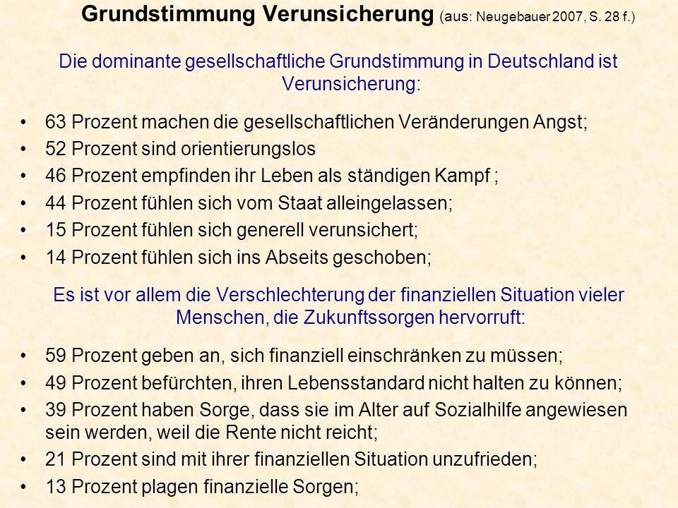 Grundstimmung Verunsicherung (aus : Neugebauer 2007, S. 28 f.) Die dominante gesellschaftliche Grundstimmung in Deutschland ist Verunsicherung: 63 Pro