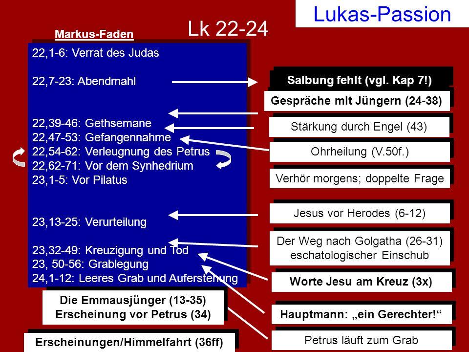 Lukas-Passion 22,1-6: Verrat des Judas 22,7-23: Abendmahl 22,39-46: Gethsemane 22,47-53: Gefangennahme 22,54-62: Verleugnung des Petrus 22,62-71: Vor
