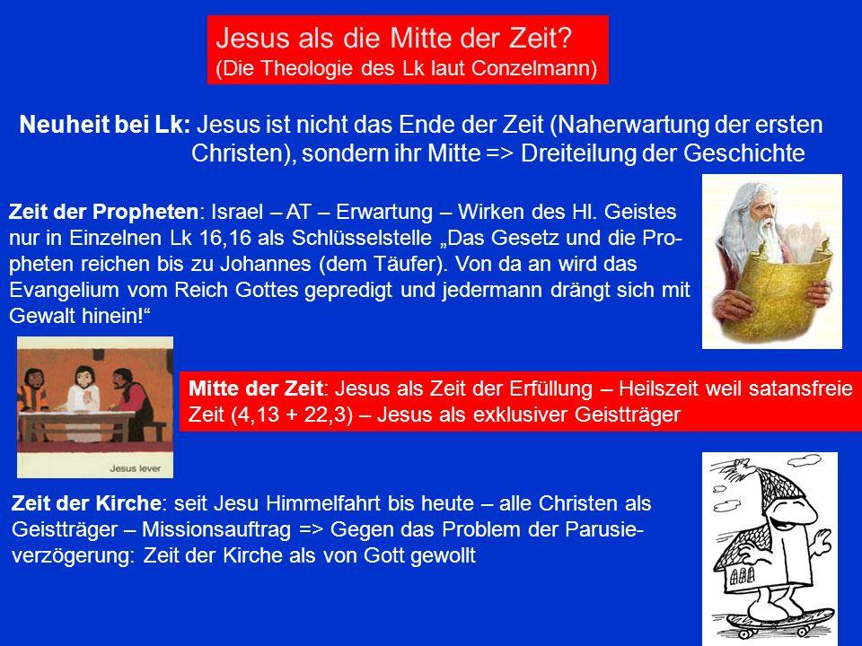 Jesus als die Mitte der Zeit? (Die Theologie des Lk laut Conzelmann) Neuheit bei Lk: Jesus ist nicht das Ende der Zeit (Naherwartung der ersten Christ