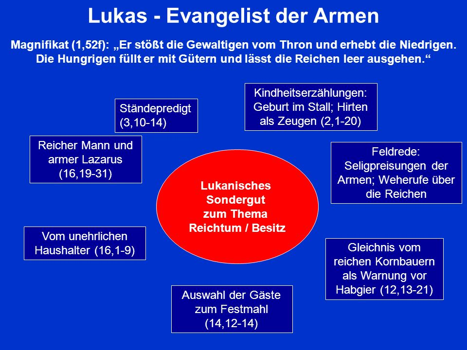 Lukas - Evangelist der Armen Magnifikat (1,52f): Er stößt die Gewaltigen vom Thron und erhebt die Niedrigen. Die Hungrigen füllt er mit Gütern und läs