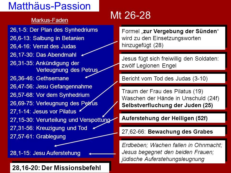Mt 26-28 Matthäus-Passion 26,1-5: Der Plan des Synhedriums 26,6-13: Salbung in Betanien 26,4-16: Verrat des Judas 26,17-30: Das Abendmahl 26,31-35: An
