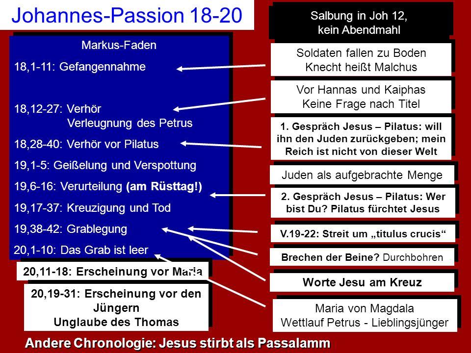 Johannes-Passion 18-20 Markus-Faden 18,1-11: Gefangennahme 18,12-27: Verhör Verleugnung des Petrus 18,28-40: Verhör vor Pilatus 19,1-5: Geißelung und