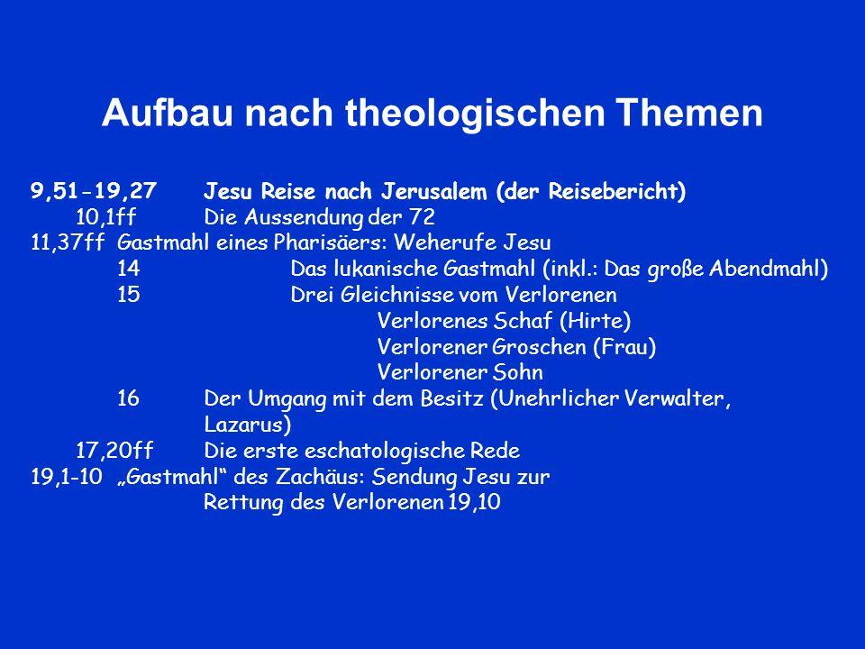 Aufbau nach theologischen Themen 9,51-19,27Jesu Reise nach Jerusalem (der Reisebericht) 10,1ffDie Aussendung der 72 11,37ffGastmahl eines Pharisäers: