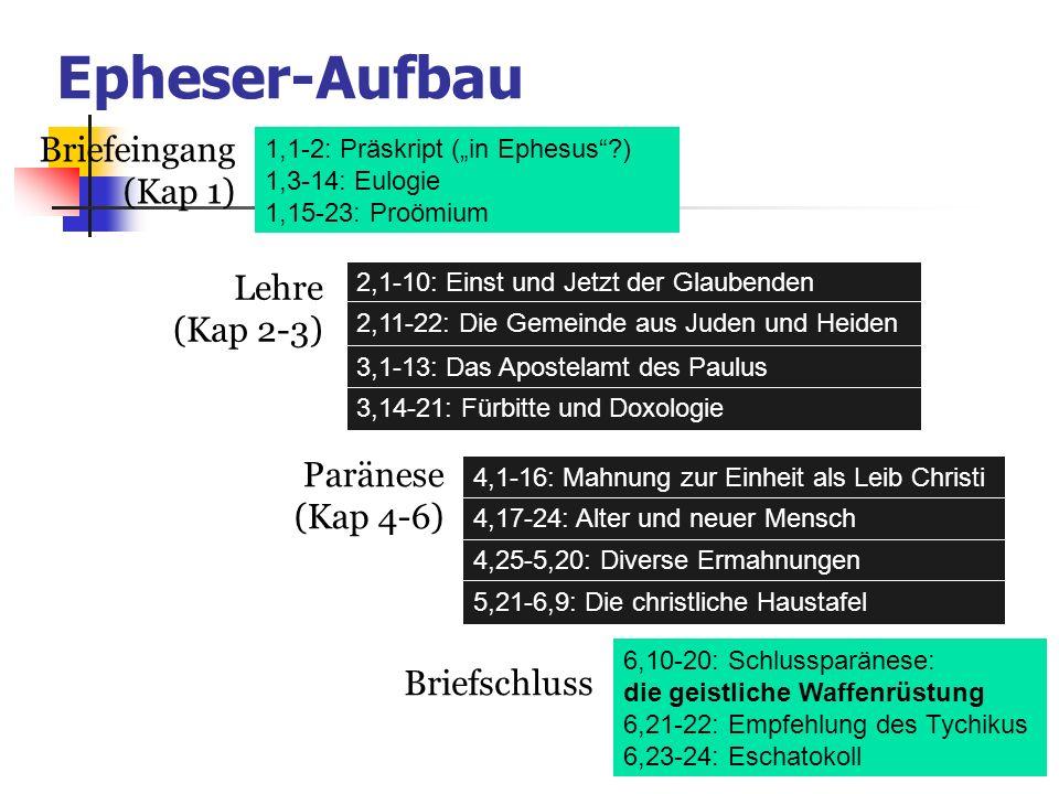 1,1-2: Präskript (in Ephesus?) 1,3-14: Eulogie 1,15-23: Proömium 6,10-20: Schlussparänese: die geistliche Waffenrüstung 6,21-22: Empfehlung des Tychik