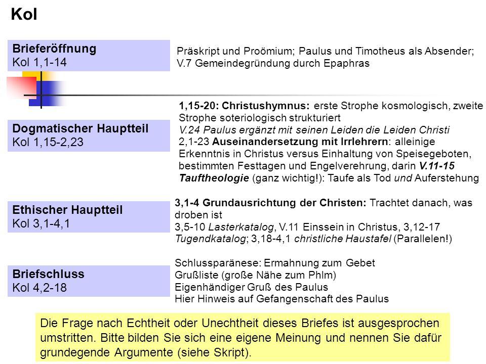 Kol Dogmatischer Hauptteil Kol 1,15-2,23 Ethischer Hauptteil Kol 3,1-4,1 Brieferöffnung Kol 1,1-14 Briefschluss Kol 4,2-18 Präskript und Proömium; Pau