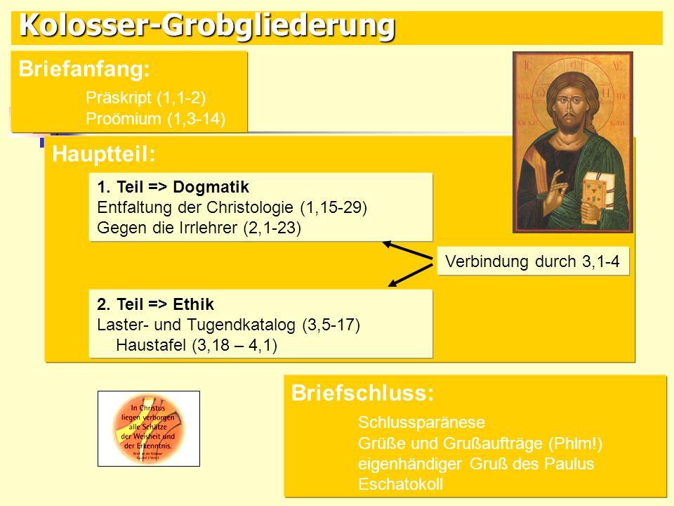 Kolosser-Grobgliederung Briefanfang: Präskript (1,1-2) Proömium (1,3-14) Briefschluss: Schlussparänese Grüße und Grußaufträge (Phlm!) eigenhändiger Gr