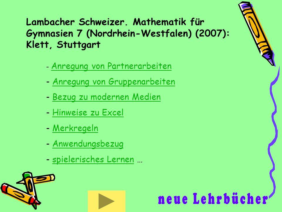 Lambacher Schweizer. Mathematik für Gymnasien 7 (Nordrhein-Westfalen) (2007): Klett, Stuttgart - Anregung von Partnerarbeiten Anregung von Partnerarbe