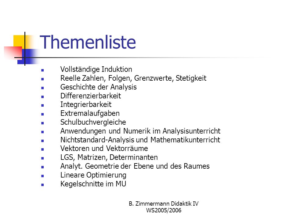 B. Zimmermann Didaktik IV WS2005/2006 Standards; EPAS 2002 K1 K2 K3 K4 K5 K6