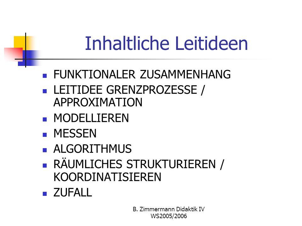 B. Zimmermann Didaktik IV WS2005/2006 Vollständige Induktion