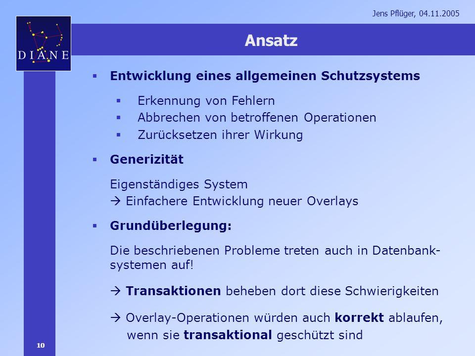 10 Jens Pflüger, 04.11.2005 Ansatz Entwicklung eines allgemeinen Schutzsystems Erkennung von Fehlern Abbrechen von betroffenen Operationen Zurücksetze