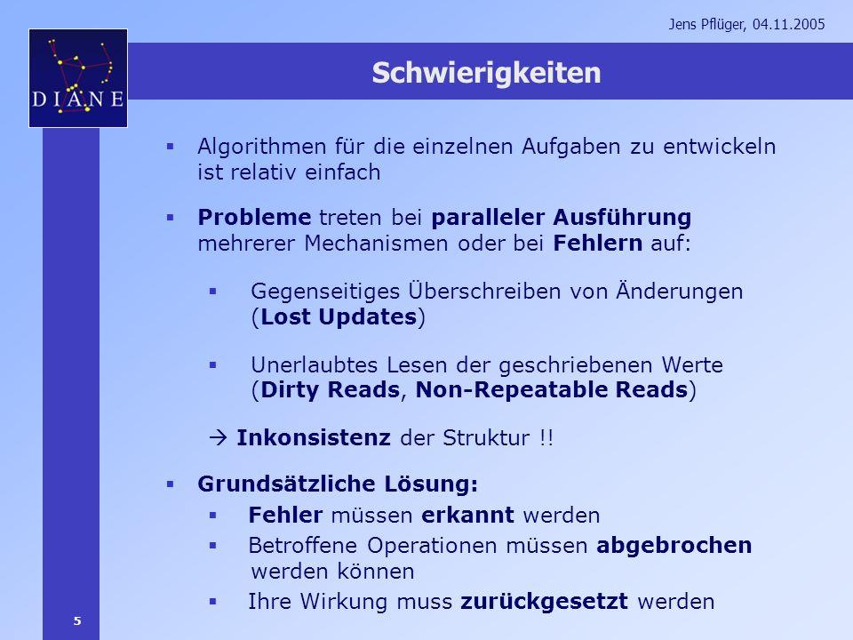 5 Jens Pflüger, 04.11.2005 Schwierigkeiten Algorithmen für die einzelnen Aufgaben zu entwickeln ist relativ einfach Probleme treten bei paralleler Aus
