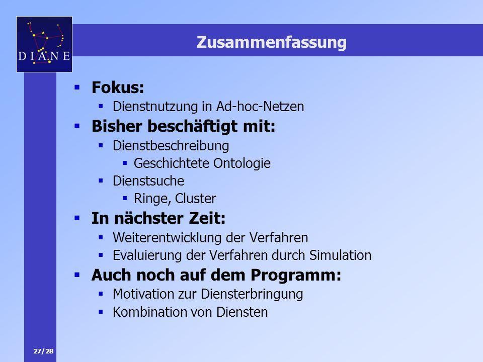 27/28 Zusammenfassung Fokus: Dienstnutzung in Ad-hoc-Netzen Bisher beschäftigt mit: Dienstbeschreibung Geschichtete Ontologie Dienstsuche Ringe, Clust
