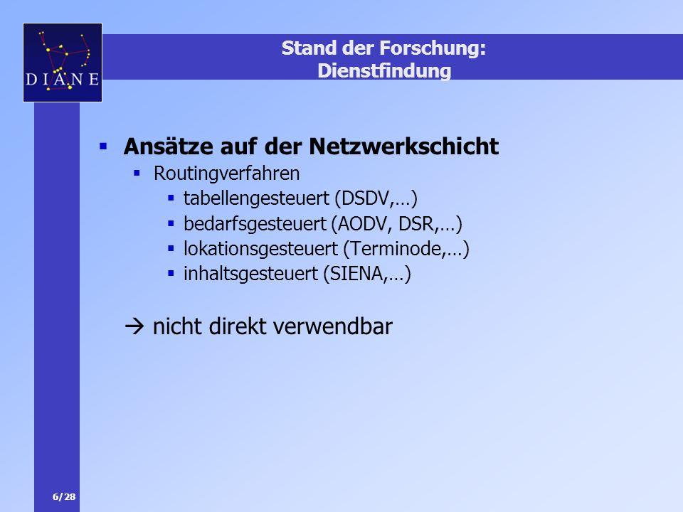 6/28 Stand der Forschung: Dienstfindung Ansätze auf der Netzwerkschicht Routingverfahren tabellengesteuert (DSDV,…) bedarfsgesteuert (AODV, DSR,…) lok
