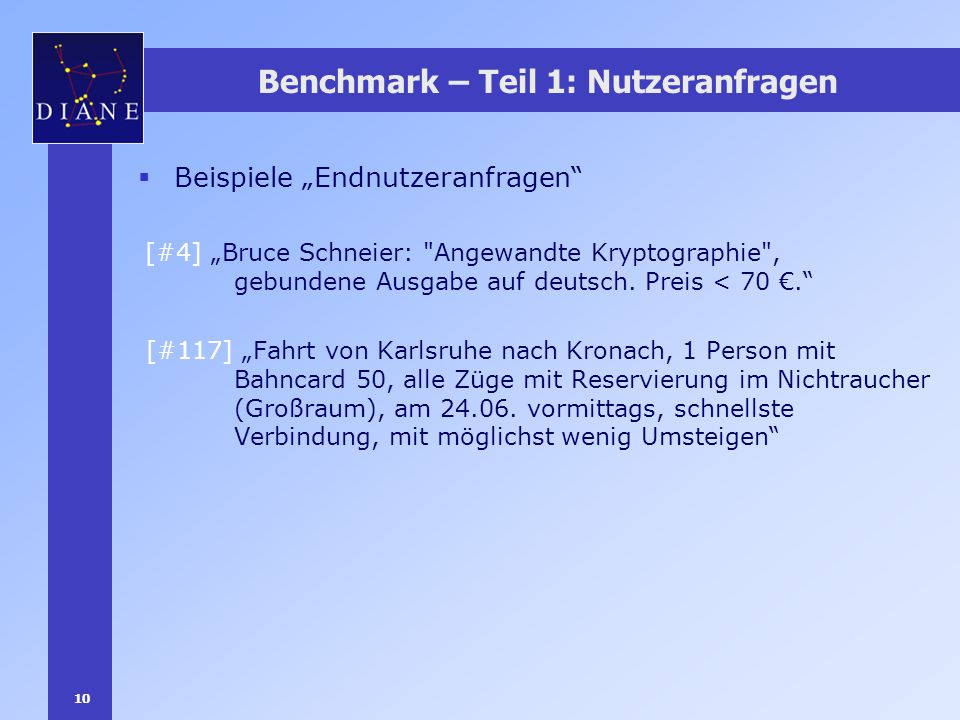 10 Benchmark – Teil 1: Nutzeranfragen Beispiele Endnutzeranfragen [#4] Bruce Schneier: