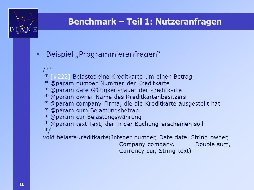 11 Benchmark – Teil 1: Nutzeranfragen Beispiel Programmieranfragen /** * [#222] Belastet eine Kreditkarte um einen Betrag * @param number Nummer der K