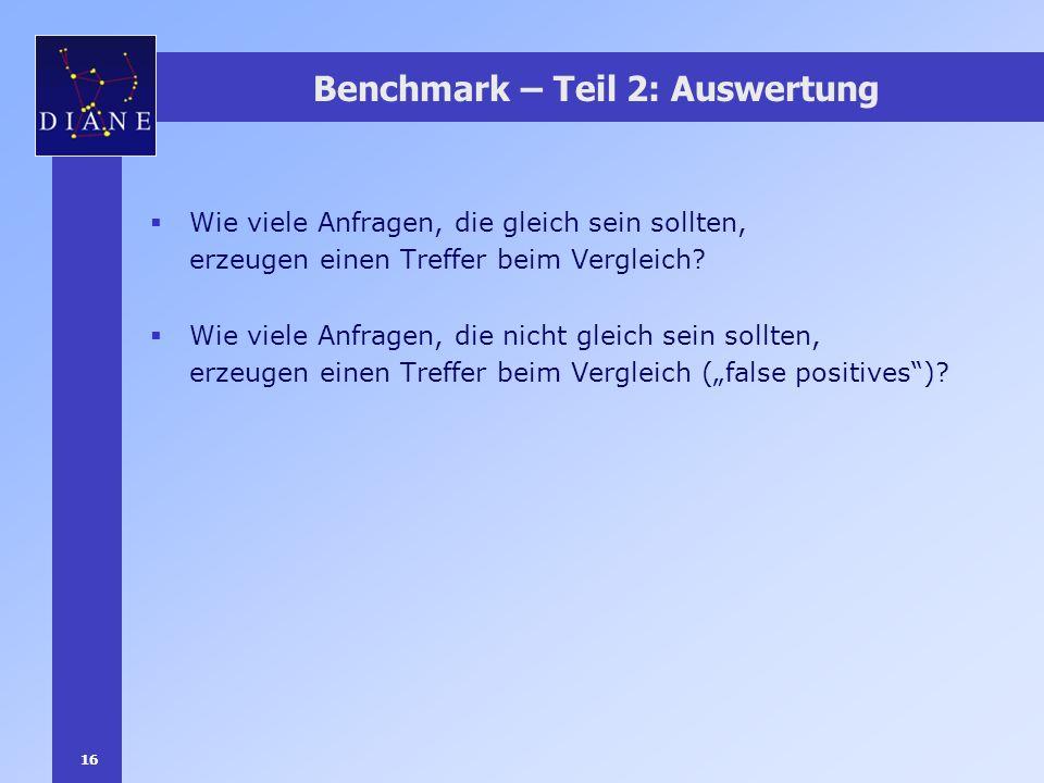 16 Benchmark – Teil 2: Auswertung Wie viele Anfragen, die gleich sein sollten, erzeugen einen Treffer beim Vergleich? Wie viele Anfragen, die nicht gl