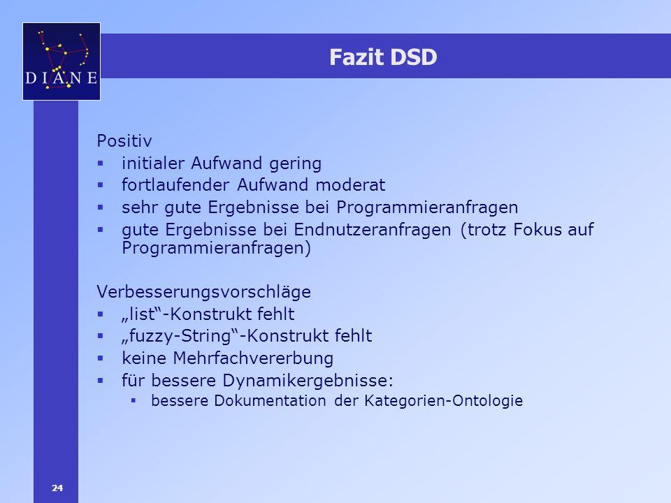 24 Fazit DSD Positiv initialer Aufwand gering fortlaufender Aufwand moderat sehr gute Ergebnisse bei Programmieranfragen gute Ergebnisse bei Endnutzer