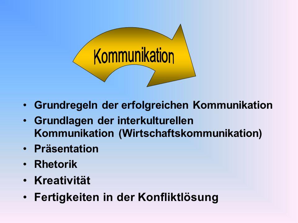 Grundregeln der erfolgreichen Kommunikation Grundlagen der interkulturellen Kommunikation (Wirtschaftskommunikation) Präsentation Rhetorik Kreativität