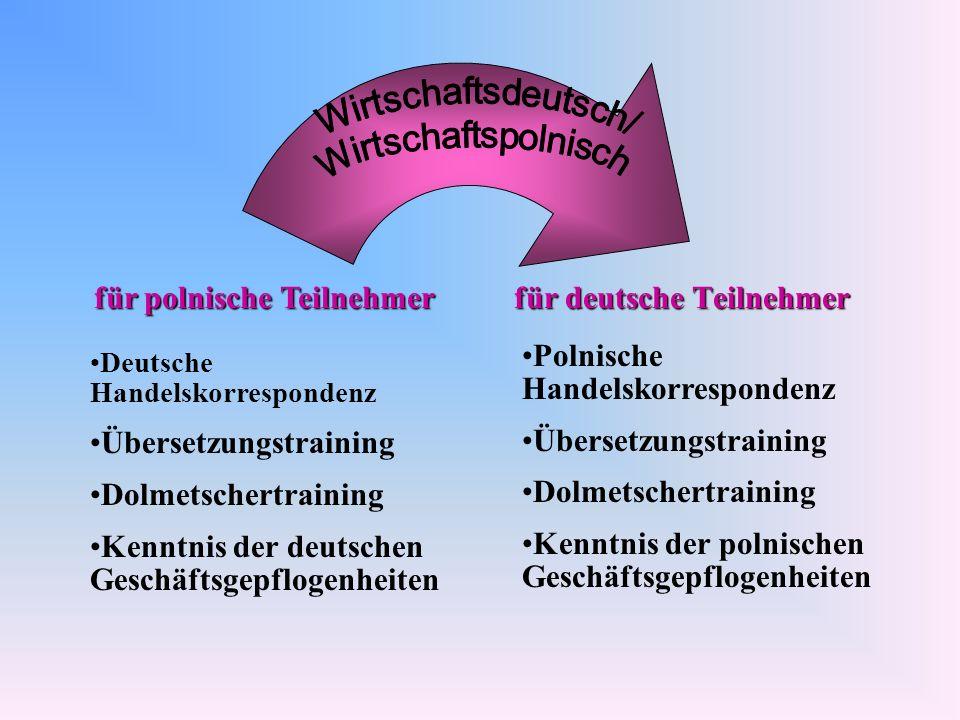 für deutsche Teilnehmer für polnische Teilnehmer Deutsche Handelskorrespondenz Übersetzungstraining Dolmetschertraining Kenntnis der deutschen Geschäf